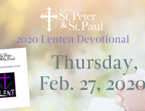 Lenten Devotional Thursday, February 27, 2020