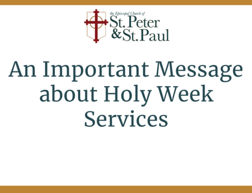 An Important Message about Holy Week Services